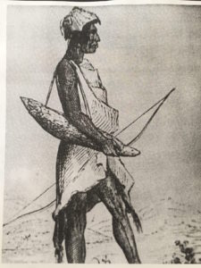 sketched by A.T. Agat of the expedition led by Lt. Charles Wilkes in the Pacific Northwest in the early 1840's. He wears a robe-like costume of elk skin and holds a bow and a quiver made of seal skin. His cap is fox skin with the ears attached. Reproduced from Charles W. Wilkes, U.S., Narratives of the United States Exploring Expedition During the Years 1838, 1839, 1840, 1841, 1842 (Philadelphia: Lee and Blanchard, 1845), volume 5. A Guide To The Indian Tribes Of The Pacific Northwest Third Edition, 1986, Robert H. Ruby, John A. Brown, Cary C. Collins